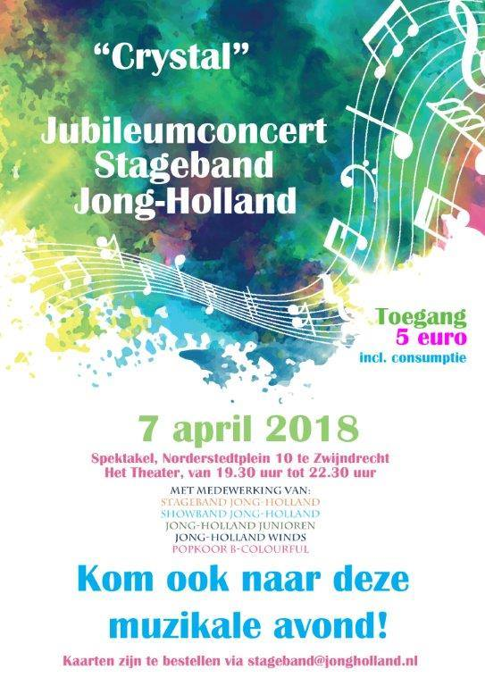 Jubileumconcert Stageband Jong-Holland 7 april 2018